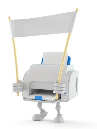 Printer character holding blank banner isolated on white background. 3d illustration