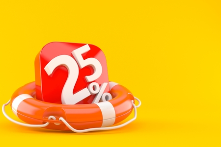 Life buoy with percent numbers isolated on orange background. 3d illustration