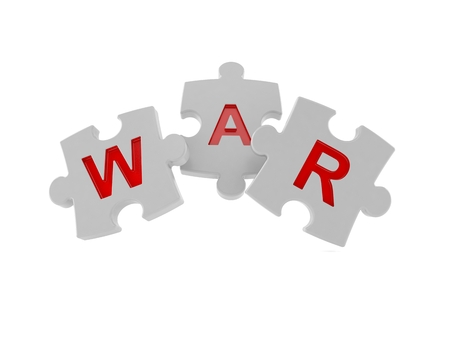 War jigsaw puzzle isolated on white background. 3d illustration