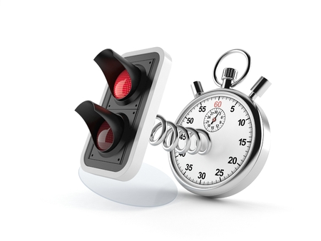 Red traffic light with stopwatch isolated on white background. 3d illustration Stock Photo
