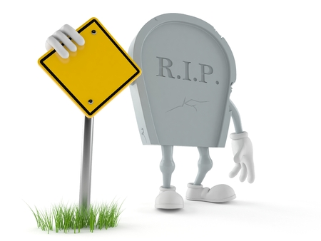 Grave character with blank road sign isolated on white background. 3d illustration Stock Photo