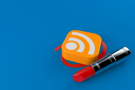 RSS icon selected with lipstick isolated on blue background. 3d illustration Stock Photo