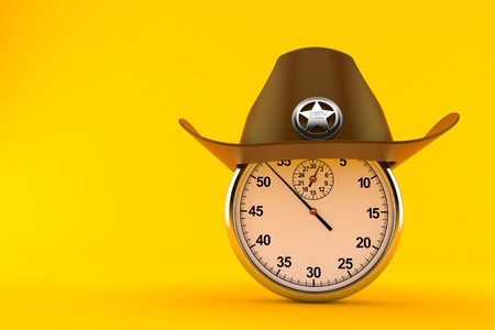 Sheriff hat with stopwatch isolated on orange background. 3d illustration