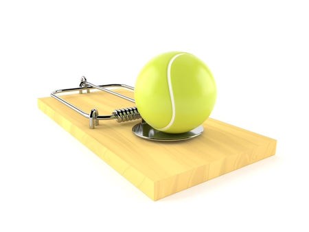 Tennis ball with mousetrap isolated on white background. 3d illustration Stock Photo