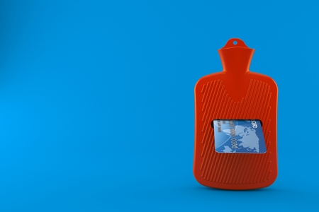 Hot water bottle with credit card isolated on blue background. 3d illustration Stock Photo
