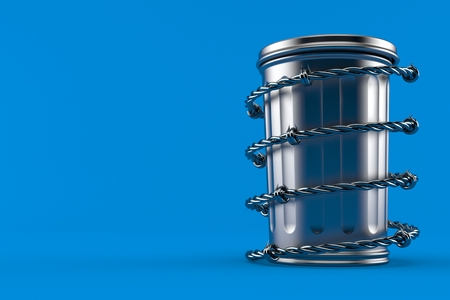 Trash can with barbed wire isolated on blue background. 3d illustration Stock Photo