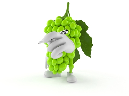 Grapes character holding marker isolated on white background. 3d illustration Stock Photo
