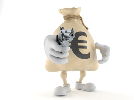 Euro money bag character aiming a gun isolated on white background. 3d illustration