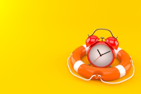 Alarm clock inside life buoy isolated on orange background. 3d illustration