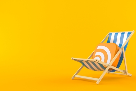 RSS icon on deck chair isolated on orange background. 3d illustration Stock Photo