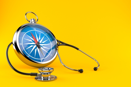 Stethoscope with compass isolated on orange background. 3d illustration Archivio Fotografico