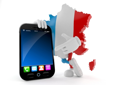 France character with smartphone isolated on white background. 3d illustration