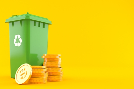 Dustbin with stack of coins isolated on orange background. 3d illustration