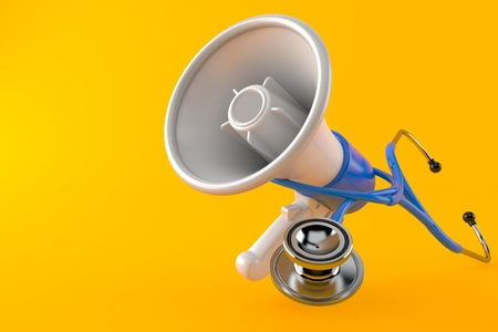 Megaphone with stethoscope isolated on orange background. 3d illustration 스톡 콘텐츠