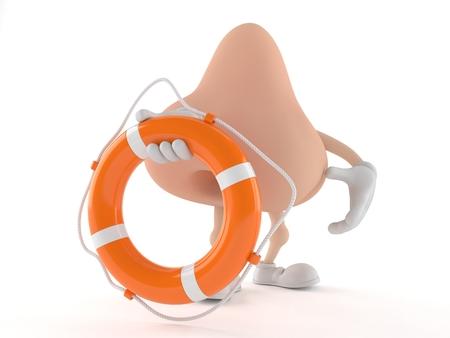 Nose character holding life buoy isolated on white background. 3d illustration Stock Photo