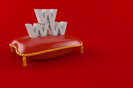 Royal pillow with www text isolated on red background. 3d illustration