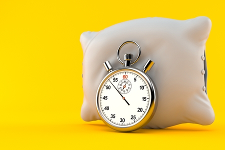 Pillow with stopwatch isolated on orange background. 3d illustration