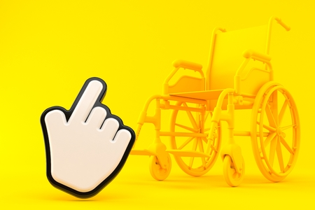 Wheelchair background with cursor in orange color. 3d illustration