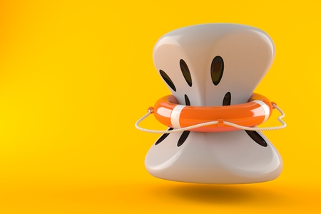 Squeezed dice with life buoy isolated on orange background. 3d illustration
