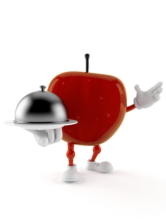 Apple character holding catering dome isolated on white background. 3d illustration