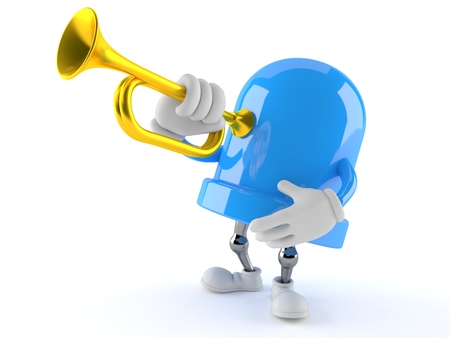 LED character playing the trumpet isolated on white background. 3d illustration Stock Photo
