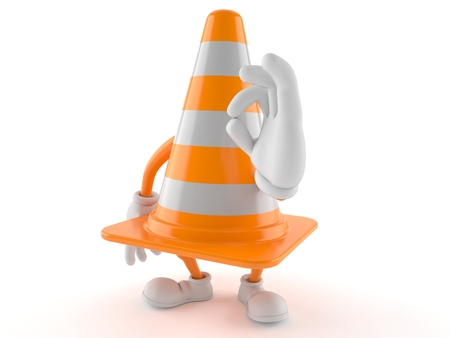 Traffic cone character with ok gesture isolated on white background. 3d illustration Stock Photo