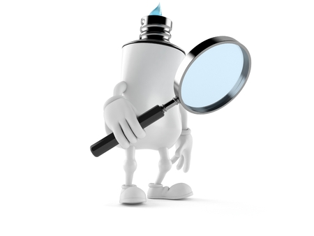 Toothpaste character holding magnifying glass isolated on white background. 3d illustration