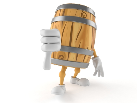 Cask character with thumbs down gesture isolated on white background. 3d illustration Stock Photo