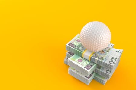 Golf ball on stack of money isolated on orange background. 3d illustration