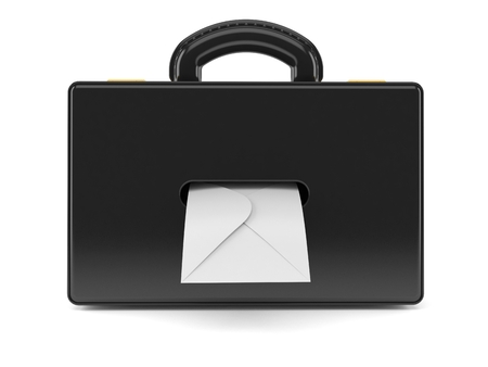 Briefcase with envelope isolated on white background. 3d illustration Фото со стока