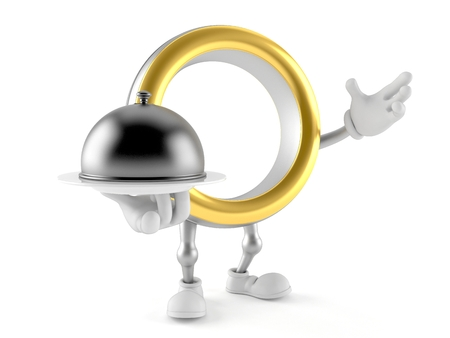 Wedding ring character holding catering dome isolated on white background. 3d illustration Banco de Imagens