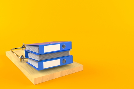 Ring binders with mousetrap isolated on orange background. 3d illustration Stock Photo
