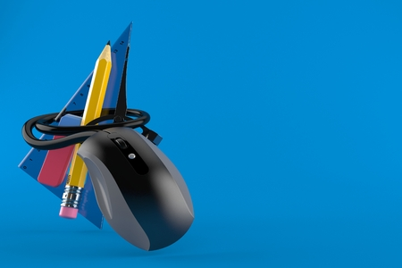 School tools with computer mouse isolated on blue background. 3d illustration Stock Photo