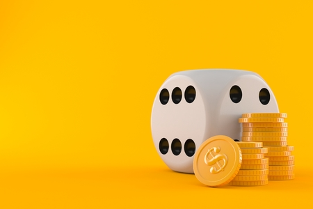 Dice with stack of coins isolated on orange background
