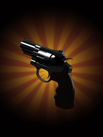 Gun on rays background. 3d illustration