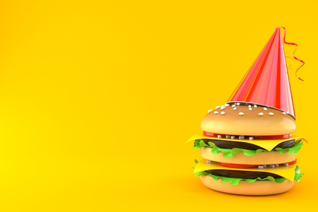 Cheeseburger with party hat isolated on orange background. 3d illustration