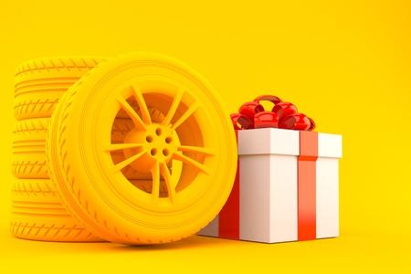 Transport background with gift in orange color. 3d illustration
