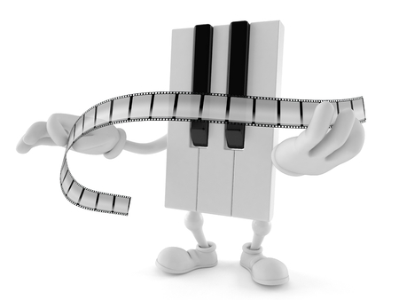 Piano character holding film strip isolated on white background. 3d illustration
