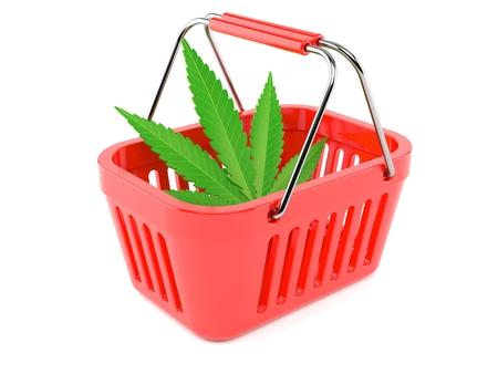 Cannabis leaf inside shopping basket isolated on white background. 3d illustration