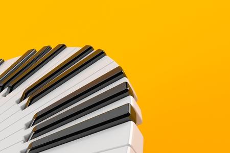 Piano keyboard isolated on orange background. 3d illustration