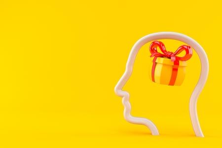 Gift inside profile face isolated on orange background. 3d illustration Stock Photo