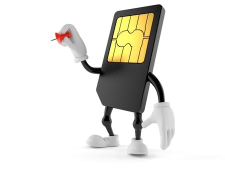 SIM card character holding thumbtack isolated on white background. 3d illustration Stock Photo