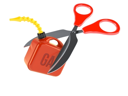 Gasoline can with scissors isolated on white background. 3d illustration