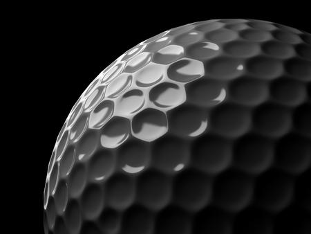 Golf ball on black background. 3d illustration