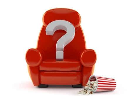Question mark with theater armchair and popcorn isolated on white background. 3d illustration