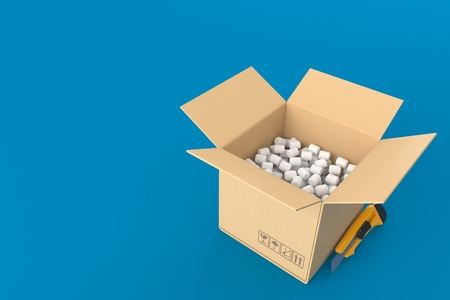 Open box concept isolated on blue background. 3d illustration