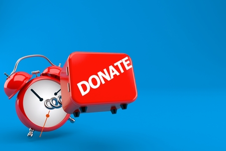 Donate box with alarm clock isolated on blue background. 3d illustration