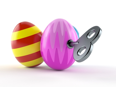 Easter eggs with clockwork key isolated on white background. 3d illustration