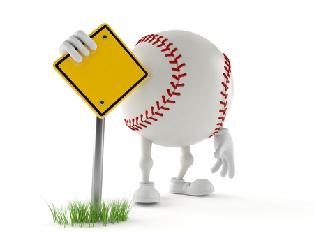 Baseball character with blank road sign isolated on white background. 3d illustration Imagens