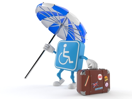 Handicapped character with suitcase isolated on white background. 3d illustration Stockfoto